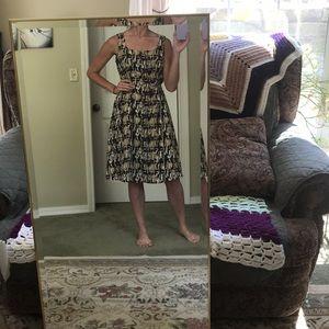 Vintage brown/black/tan pattern dress.